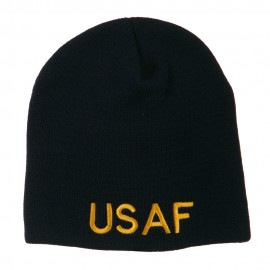US Air Force Military Embroidered Short Beanie - Navy