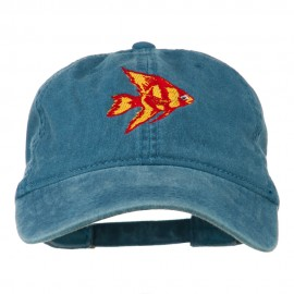 Angel Fish Embroidered Washed Dyed Cap - Navy