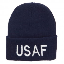 US Air Force USAF Embroidered Long Beanie - Navy