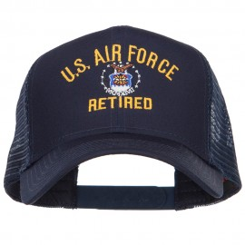US Air Force Retired Military Embroidered Mesh Cap - Navy