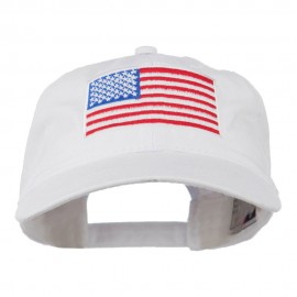 American Flag Embroidered Washed Cap - White