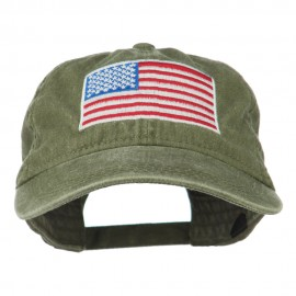 American Flag Embroidered Washed Cap - Olive Green