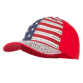 American Flag Rhinestone Jeweled Cap