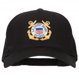 US Coast Guard Retired Anchors Embroidered Solid Cotton Pro Style Cap