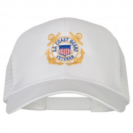 US Coast Guard Veteran Anchors Embroidered Solid Cotton Mesh Pro Cap