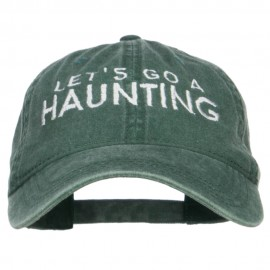 Let's Go A Haunting Embroidered Washed Cap