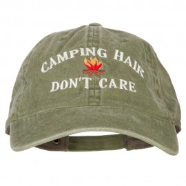 Camping Hair Don't Care Embroidered Washed Cotton Twill Cap