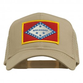 Arkansas State Flag Patched Mesh Cap - Khaki