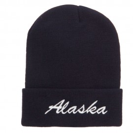 Alaska Embroidered Cuff Long Knit Beanie