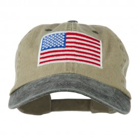 American Flag Embroidered Washed Two Tone Cap - Khaki Black