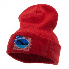 American Swimmer Embroidered 12 Inch Long Knitted Beanie