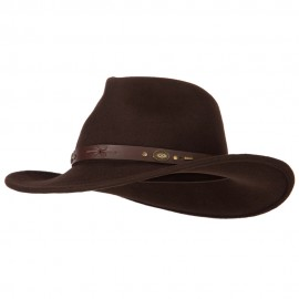Unisex Brass Accented Leather Band Pinched Fedora Crown Outback Hat - Dk Brown