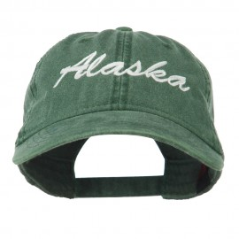 US State Alaska Embroidered Washed Cap - Dark Green