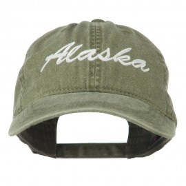 US State Alaska Embroidered Washed Cap - Olive Green