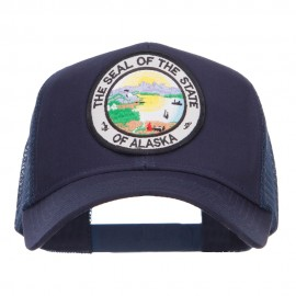 Alaska State Seal Patched Mesh Cap - Navy