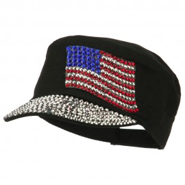 American Flag Stones Military Cap - Black
