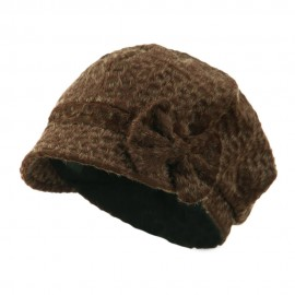 Animal Print Bow Accent Newsboy Hat - Coffee