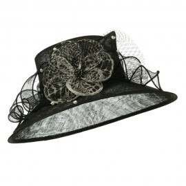 Animal Print Bow Sinamay Hat - Black
