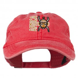 Africa Mask Embroidered Washed Pigment Dyed Cap - Red