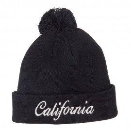 California Embroidered Pom Cuff Beanie
