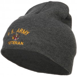 US Army Veteran Military Embroidered Short Beanie - Dk Grey