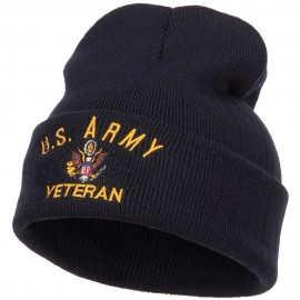 US Army Veteran Military Embroidered Long Beanie - Navy