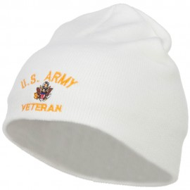 US Army Veteran Military Embroidered Short Beanie - White