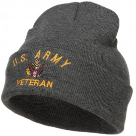 US Army Veteran Military Embroidered Long Beanie - Dk Grey