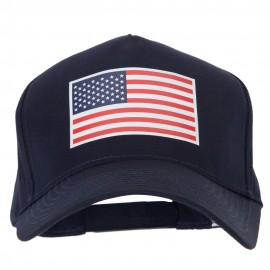 American Flag Heat Transfer 5 Panel Pro Style Brushed Cap