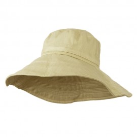Big Size Ladies Linen Wide Brim Hat - Khaki