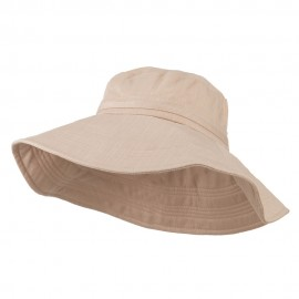 Big Size Ladies Linen Wide Brim Hat - Peach