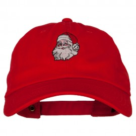 Santa Claus Head Embroidered Unstructured Washed Cap
