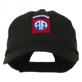 82nd Airborne Military Embroidered Pigment Dyed Cotton Cap - Black