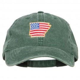 USA Flag Arkansas Map Embroidered Washed Buckle Cap