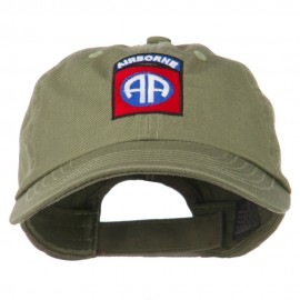 82nd Airborne Military Embroidered Pigment Dyed Cotton Cap - Olive