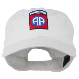82nd Airborne Military Embroidered Pigment Dyed Cotton Cap - White