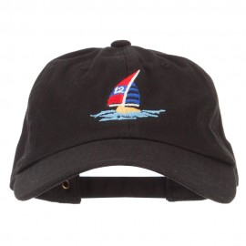 Sailboat and Ocean Embroidered Unstructured Cap