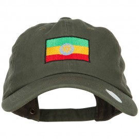 Ethiopia Flag Embroidered Unstructured Cap - Olive