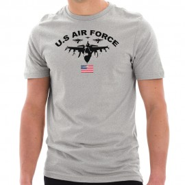 Air Force Squadron Graphic Design Short Sleeve Cotton Jersey T-Shirt
