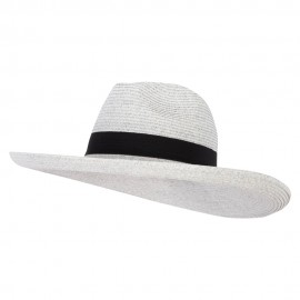 Women's Paper Bow Accented Turn Up Extra Large Brim Fedora Hat