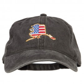 USA Flag Alaska Map Embroidered Washed Buckle Cap