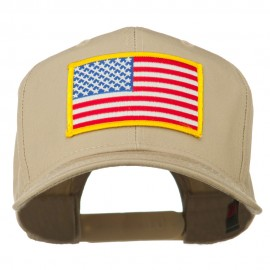 American Flag Patched High Profile Cap - Khaki