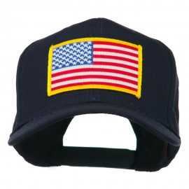 American Flag Patched High Profile Cap - Navy