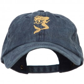 Mermaid Shape Embroidered Washed Cotton Cap