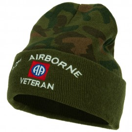 US Army 82nd Airborne Veteran Logo Embroidered Camo Knit Long Cuff Beanie