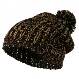 Woman's Acrylic Rainbow Beanie - Black
