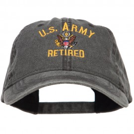 US Army Retired Military Embroidered Washed Cap - Black