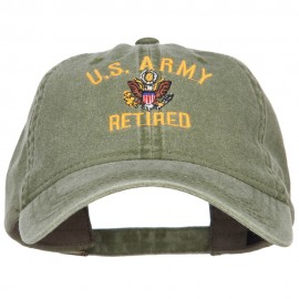 US Army Retired Military Embroidered Washed Cap - Olive
