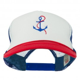 Anchor with Chain Embroidered Foam Mesh Back Cap - Red White Royal