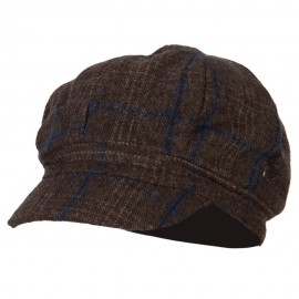 Classic Plaid Patterned Newsboy Cap - Brown